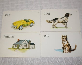 Vintage Flashcards - Sweet family pictures - Whitman publishing - 1960's - Set of 4