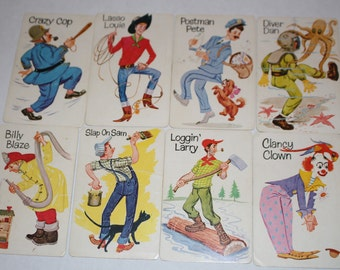 Set of 8 Vintage Old Maid Cards - Boys Set of 8