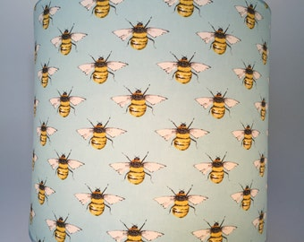 Pale Blue Lampshade with Bees (now available in light green or dark blue )