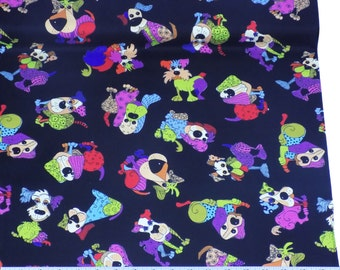 Dogs Black 100% Cotton High Quality Fabric Material Sold by the Metre