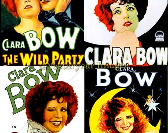 Vintage CLARA BOW Movie Posters - Printable Digital Images - Collage Sheets - Instant Download - 3 PNG Files 4x4. 2x2. 1x1