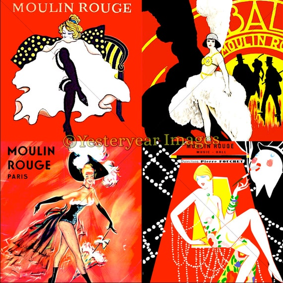 Vintage MOULIN ROUGE Travel Posters Printable Digital Images