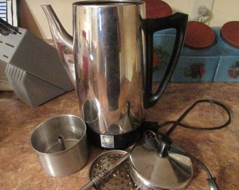 Presto Stainless Steel Percolator - Electric Percolator - Vintage Percolator - Coffee Percolator - Coffee Maker