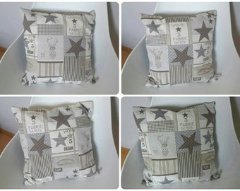 Cover cushion patterns to star in grey, beige and taupe