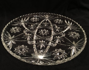 Anchor Hocking Tray Platter Cake Plate Early American Prescut Star of David Pattern