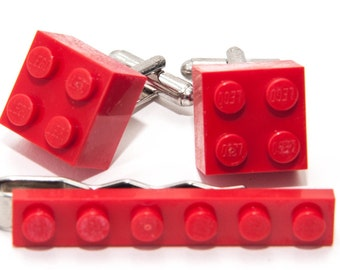 Red Lego Brick Cufflinks and Lego Plate Tie Clip  Handmade Cuff links