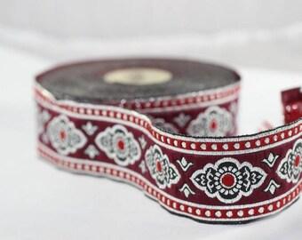 25 mm Red Renaissance Motive ribbon (0.98 inches) -  european ribbon -  dog colar ribbons - Sewing - Jacquard ribbon - Trim