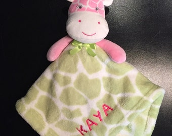 Pink cow lovey baby blanket