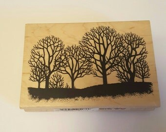 Tree silhouette wood stamp