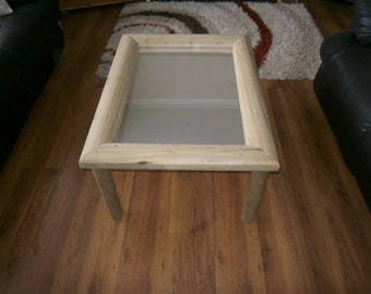 Chunky Wooden Half Log Coffee Table with a Mirror, Wood or Glass centre