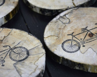 Wood Tandem Bicycle Coasters