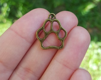 10 Dog Paw Print Charms, Bronze Toned B33803H