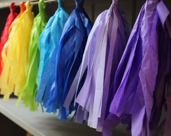 RAINBOW PARTY DECORATION- tissue paper garland- rainbow dash- paint party decorations- rainbow tissue garland- paint party garland