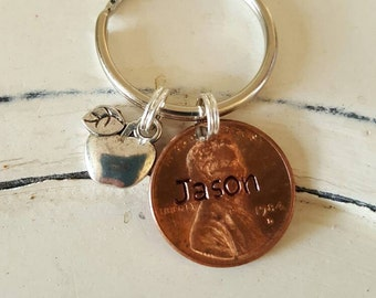 Lucky penny keychain teacher gift, penny and charm only