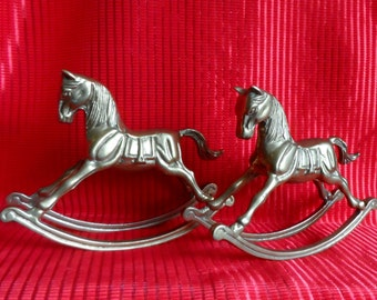 A Pair of Vintage Brass Rocking Horses