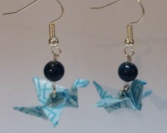 Purple Origami Crane Earrings