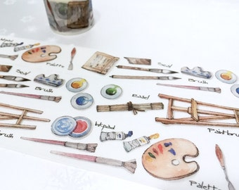 oil painting tools washi tape 7M x 3cm painter artist paint brush drawing tool fine art sticker tape ink pen painting theme planner decor