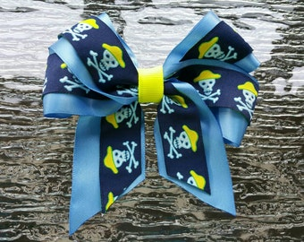 """5""""  Skull and Cross Bones, Pirate, Blue and Yellow Hair Bow - Woven / Jacquard Ribbon"""