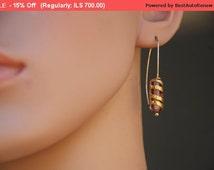 Summer Sale Elegant Cylinder Earrings, Violet Earrings, Artisan Lamp work Glass Beads Earrings, 14K Gold, Contemporary Glass, Flame work,...