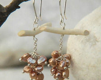Grape earrings pearls