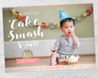 Cake Smash Marketing Board, Cake Smash Mini Session, Photoshop Template, Cake Smash Template, Photographer, 1st Birthday - 02-MB-00-004