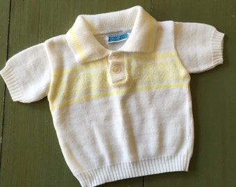 Yellow and cream vintage infant sweater - 0-3 months