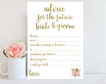 Advice for the Bride and Groom, Bridal Shower Game, Printable Wedding Advice Cards, Floral Sign, Advice for the Bride Printable Gold BRSG1