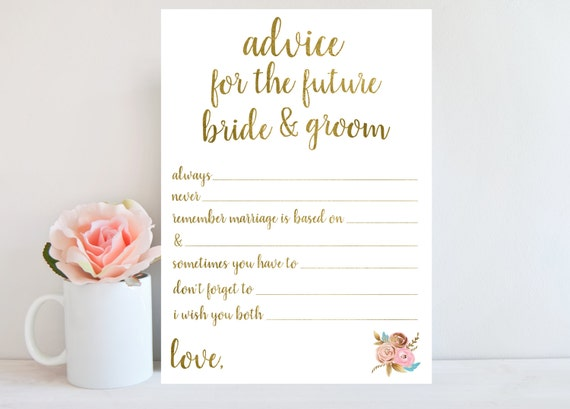 Advice for the bride and groom bridal shower game printable for Bridal shower advice cards template
