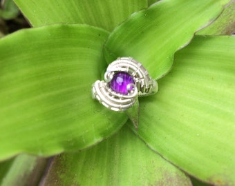 Noyesdesigns amethyst wire wrapped ring
