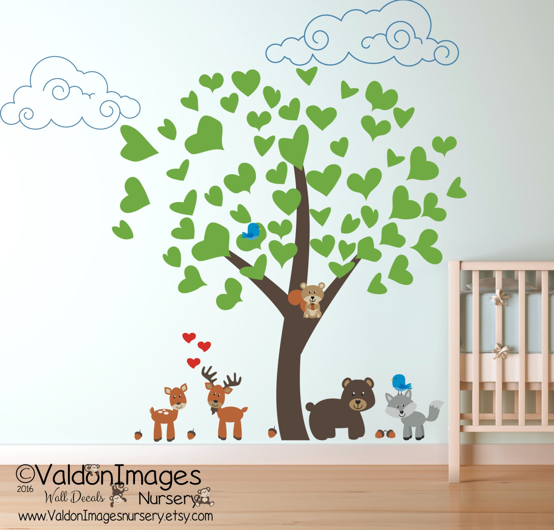 woodland animals wall decal nursery wall by valdonimagesnursery. Black Bedroom Furniture Sets. Home Design Ideas