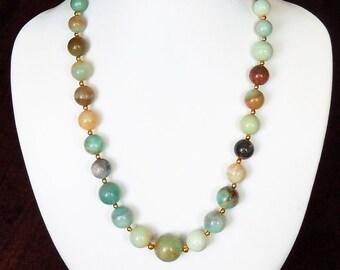 Gemstone necklace of multicolored Amazonite