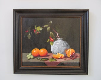 Original still life oil painting of oranges, grapes and grey vase framed and ready to hang