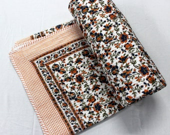 100% Cotton  soft hand block print quilt with cotton filling machine quilted
