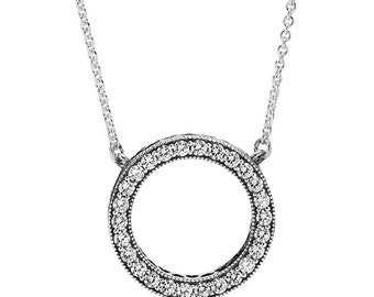 Hearts  with Clear CZ Necklace