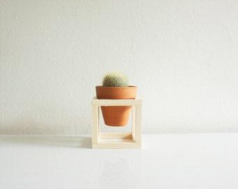 Handmade wooden, square plant pot holder