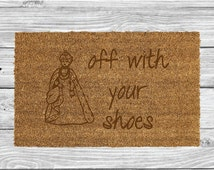 Off With Your Shoes Laser Engraved Door Mat, Personalised Welcome Mat, Natural Coco Fiber, Coir Mat, FM87