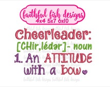 Cute, Girly Cheerleader Definition Embroidery Design - An Attitude With a Bow - Cheerleader Design - Cheer Embroidery
