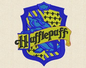 Hufflepuff Emblem Embroidery Design 4 sizes