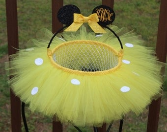 Mouse Easter Basket, Wedding Flower Girl Basket, Handmade, Personalized, Monogrammed, Tulle with Metal Basket