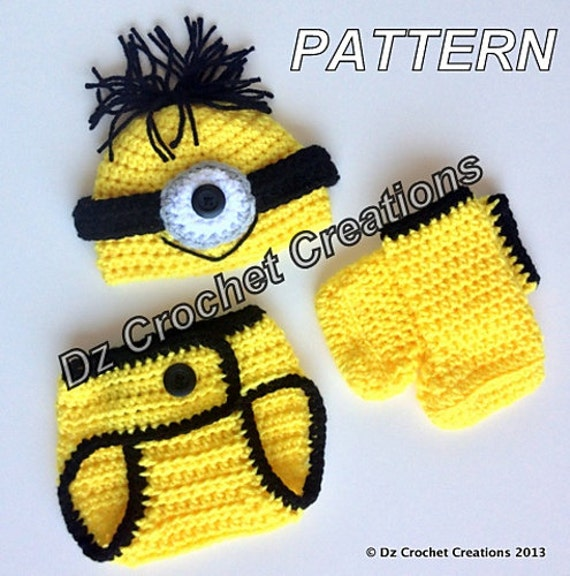 Crochet Patterns For Baby Overalls : CROCHET PATTERN Minion Pattern / Crochet Photo Prop baby