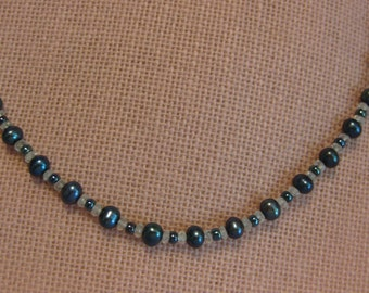 Navy blue pearl & aquamarine necklace