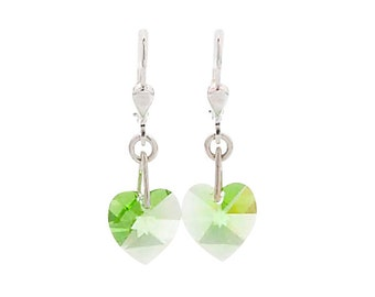 SWAROVSKI Mini Heart Sterling Silver Earrings in Peridot Green