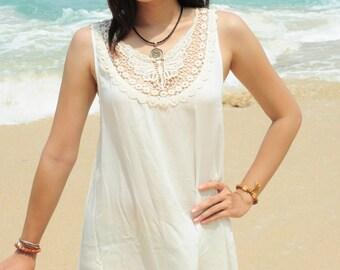 Short Summer Dress, Sleeveless Summer Dress, Lace Dress, Casual Dress, Day Dress, Off White Dress