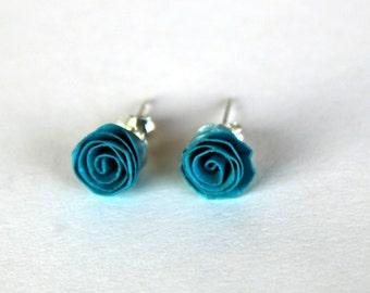 Sterling silver, paper Roses earrings