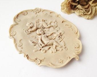 Vintage Carved Soapstone Cherub Picture / Vintage Soapstone Cherub Art / Vintage Soapstone Picture / Vintage Soapstone / Soapstone Angel