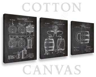 Canvas, Beer Patents Set of 3 Prints, Canvas Wall Art, Canvas Patent Print, Beer Posters, Beer Blueprints, Beer Art, Beer Wall Art