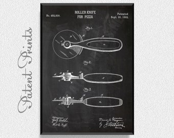 Pizza Knife Patent Print, Kitchen Wall Decor, Kitchen Wall Art, Restaurant Decor, Dining Room Wall Decor, Pizza Party Decorations
