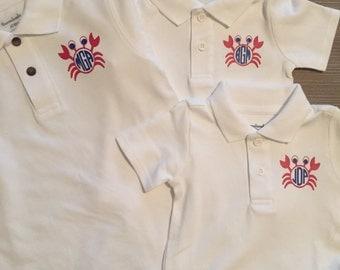 Boys Beach Crab Polo Shirts and Onesies