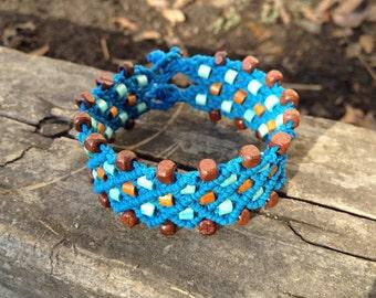 Micro Macrame Cuff Bracelet, Blue Hemp