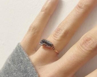 Black Tourmaline Stacker Ring  | Raw Tourmaline Ring  | Electroformed  Rough Tourmaline Ring | Black Crystal Ring